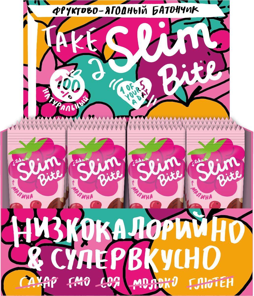 Take A Slim Bite Малина батончик фруктово-ягодный, 30 шт по 30 г0120710Take A Slim Bite со спелой малиной - истинное наслаждение для ценителей ягодных десертов. Клюква и специи придают батончику нежный вкус и утонченный аромат.
