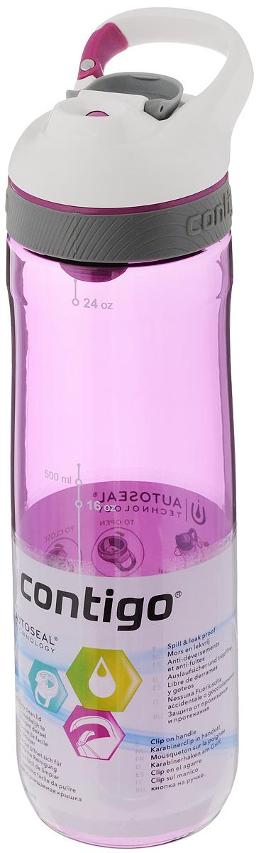 Бутылка для воды Contigo Cortland, цвет: фиолетовый, белый, 720 млVT-1520(SR)Бутылка для воды Contigo Cortland изготовлена из высококачественного прозрачного пластика, безопасного для здоровья. Закручивающаяся крышка с герметичным клапаном для питья обеспечивает защиту от проливания. Оптимальный объем бутылки позволяет взять небольшую порцию напитка. Она легко помещается в сумке или рюкзаке и всегда будет под рукой. Изделие имеет мерную шкалу, которая позволит контролировать количество жидкости. Такая идеальная бутылка небольшого размера, но отличной вместимости наполняет оптимизмом, даря заряд позитива и хорошего настроения. Бутылка для воды Contigo Cortland - отличное решение для прогулки, пикника, автомобильной поездки, занятий спортом и фитнесом. Высота бутылки (с учетом крышки): 25,5 см.Диаметр дна: 6,5 см.