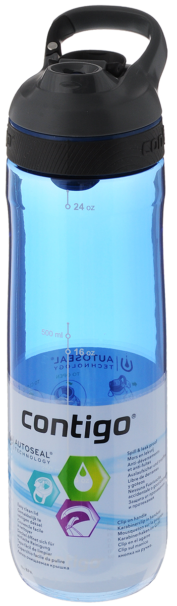 Бутылка для воды Contigo Cortland, цвет: синий, серый, черный, 720 млVT-1520(SR)Бутылка для воды Contigo Cortland изготовлена из высококачественного прозрачного пластика, безопасного для здоровья. Закручивающаяся крышка с герметичным клапаном для питья обеспечивает защиту от проливания. Оптимальный объем бутылки позволяет взять небольшую порцию напитка. Она легко помещается в сумке или рюкзаке и всегда будет под рукой. Изделие имеет мерную шкалу, которая позволит контролировать количество жидкости. Такая идеальная бутылка небольшого размера, но отличной вместимости наполняет оптимизмом, даря заряд позитива и хорошего настроения. Бутылка для воды Contigo Cortland - отличное решение для прогулки, пикника, автомобильной поездки, занятий спортом и фитнесом. Высота бутылки (с учетом крышки): 25,5 см.Диаметр дна: 6,5 см.