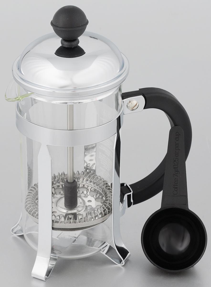 Френч-пресс Melior Chambord, с мерной ложкой, 350 мл115510Френч-пресс Melior Chambord позволит быстро и просто приготовить свежий и ароматный чай или кофе. Корпус изготовлен из высококачественного жаропрочного стекла, устойчивого к окрашиванию, царапинам и термошоку. Фильтр-поршень из нержавеющей стали выполнен по технологии press-up для обеспечения равномерной циркуляции воды. Готовить напитки с помощью френч-пресса очень просто. С помощью мерной ложечки насыпьте внутрь заварку и залейте кипятком. Остановить процесс заваривания легко. Для этого нужно просто опустить поршень, и заварка уйдет вниз, оставляя вверху напиток, готовый к употреблению. Заварочный чайник с прессом - это совершенный чайник для ежедневного использования. Практичный и стильный дизайн полностью соответствует последним модным тенденциям в создании предметов кухонной утвари.Можно мыть в посудомоечной машине.Диаметр (по верхнему краю): 7 см. Высота (с учетом крышки): 19 см.Диаметр основания: 6,5 см.