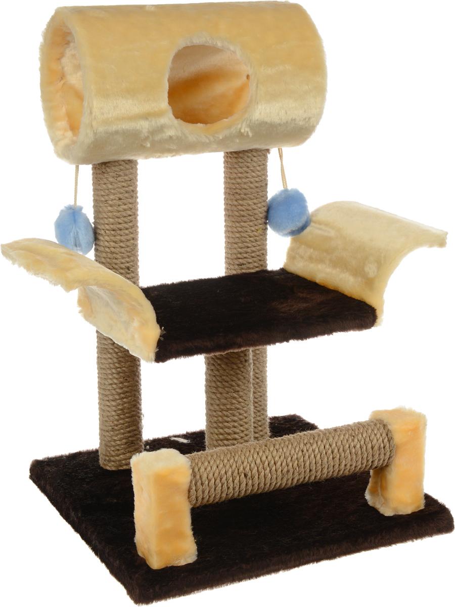 Игровой комплекс для кошек ЗооМарк Васька, цвет: бежевый, темно-коричневый, 52 х 46 х 69 см144_бежевый, коричневыйИгровой комплекс для кошек ЗооМарк Васька прекрасно подойдет для животного, которое длительное время остается одно дома. Обеспечивая уютное место для сна и отдыха, комплекс является отличной игровой площадкой для развлечения скучающего животного. Комплекс изготовлен из дерева и обтянут искусственным мехом. Столбики, выполненные из джута, на длительное время отвлекут вашу кошку от мягкой мебели и обоев в доме, а подвесная игрушка развлечет питомца. Комплекс имеет лежак, на котором животное сможет отдохнуть. Сверху имеется туннель.Общий размер комплекса: 52 х 46 х 69 см.Размер туннеля: 36 х 20 х 20 см.Размер лежака (рабочая часть): 31 х 26 см.