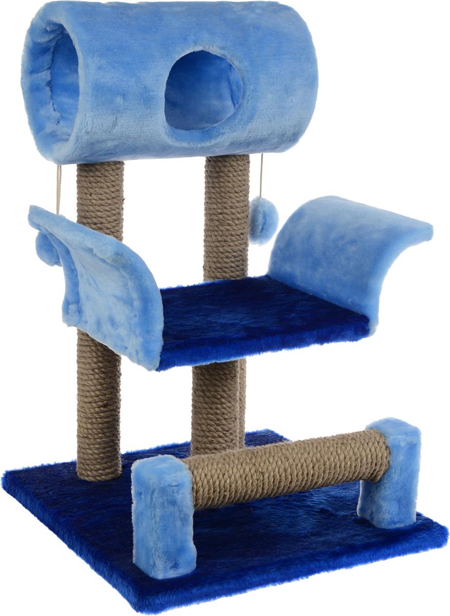 Игровой комплекс для кошек ЗооМарк Васька, цвет: голубой, синий, бежевый, 52 х 46 х 69 см0120710Игровой комплекс для кошек ЗооМарк Васька прекрасно подойдет для животного, которое длительное время остается одно дома. Обеспечивая уютное место для сна и отдыха, комплекс является отличной игровой площадкой для развлечения скучающего животного. Комплекс изготовлен из дерева и обтянут искусственным мехом. Столбики, выполненные из джута, на длительное время отвлекут вашу кошку от мягкой мебели и обоев в доме, а подвесная игрушка развлечет питомца. Комплекс имеет лежак, на котором животное сможет отдохнуть. Сверху имеется туннель.Общий размер комплекса: 52 х 46 х 69 см.Размер туннеля: 36 х 20 х 20 см.Размер лежака (рабочая часть): 31 х 26 см.