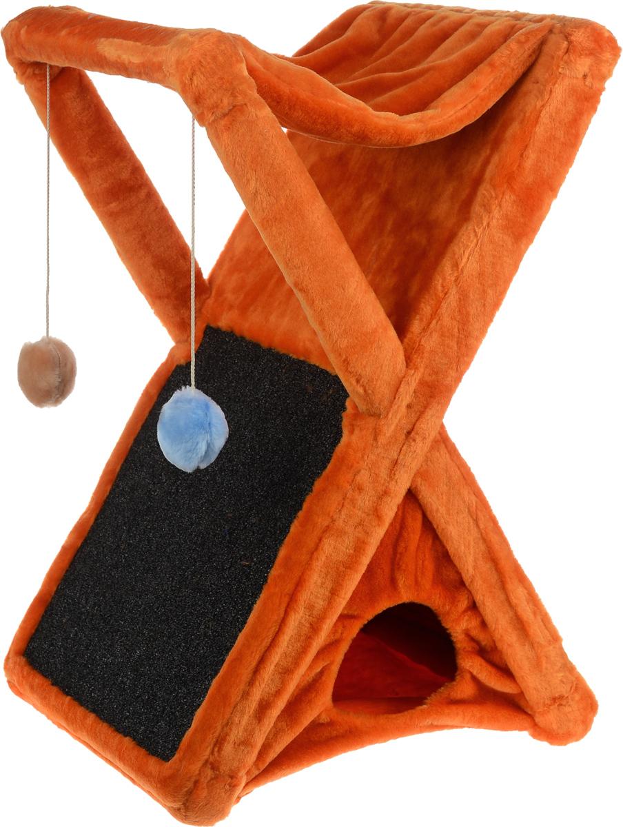 Когтеточка ЗооМарк Икс, цвет: оранжевый, 48 х 41 х 74 смД421 ЦвКогтеточка ЗооМарк Икс поможет сохранить мебель и ковры в доме от когтей вашего любимца, стремящегося удовлетворить свою естественную потребность точить когти. Когтеточка изготовлена из дерева и обтянута мягким искусственным мехом. Внизу имеется домик для питомца, сверху лежак, по форме похожий на гамак. Сбоку расположена когтеточка, выполненная из прочного ковролина, а над ней 2 игрушки, которые привлекут внимание питомца. Товар продуман в мельчайших деталях и, несомненно, понравится вашей кошке. Всем кошкам необходимо стачивать когти. Когтеточка - один из самых необходимых аксессуаров для кошки. Она поможет вашему любимцу стачивать когти и при этом не портить вашу мебель.