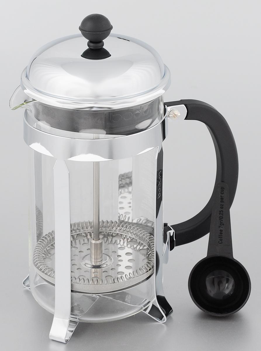 Френч-пресс Bodum Chambord, с мерной ложкой, 1 лVT-1520(SR)Френч-пресс Bodum Chambord, изготовленный из коррозионностойкой стали, пластика и стекла, предназначен для приготовления 8 чашек кофе или чая. Фильтр-поршень из нержавеющей стали позволит заварить напиток оптимальной крепости. Остановить процесс заваривания легко, для этого нужно просто опустить поршень, заварка останется внизу, оставляя сверху напиток, готовый к употреблению.В комплект входит мерная ложечка из пластика.Оригинальный френч-пресс Bodum Chambord - воплощенная традиция, вещь, ставшая за время своего существования культовой. Высота френч-пресса (с учетом крышки): 25 см.Диаметр френч-пресса: 9,5 см.Длина ложечки: 10 см.