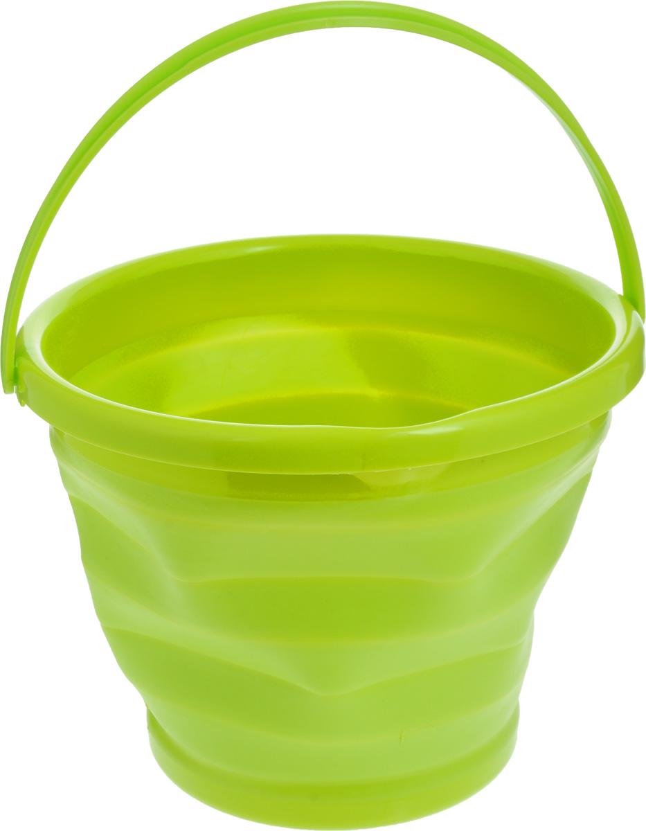 Ведро складное Коллекция, цвет: салатовый, 10 л10035_розовый,желтый,синийСкладное ведро Коллекция изготовлено из термопластичной резины и пластика. Благодаря гибкости и пластичности материала ведро легко складывается и раскладывается. Пластиковые вставки отлично держат форму изделия. Ведро прекрасно подходит для различных бытовых нужд, в него также можно наливать воду. Для удобной переноски имеется ручка. В сложенном виде занимает минимум места, имеется отверстие для подвешивания на крючок.Такое практичное и функциональное ведро пригодится в любом хозяйстве. Диаметр (по верхнему краю): 31 см. Высота (в разложенном виде): 24 см. Высота (в сложенном виде): 5 см.
