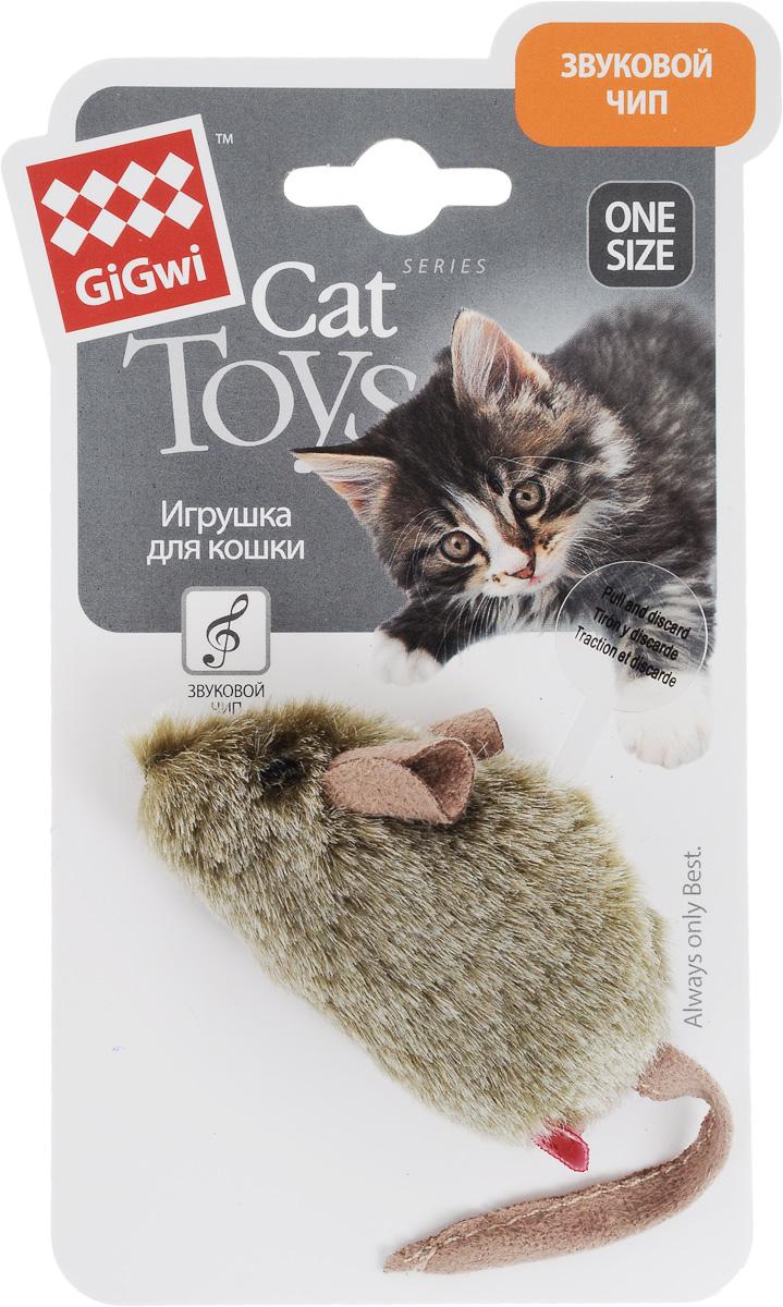 Игрушка для кошек GiGwi Мышка, музыкальная101246Игрушка для кошек GiGwi Мышка, изготовленная из мягкого искусственного меха в виде симпатичной мышки, не позволит заскучать вашему пушистому питомцу. Игрушка снабжена звуковым чипом: при касании лапами игрушка издает звуки, похожие на пищание мышек. Играя с этой забавной игрушкой, маленькие котята развиваются физически, а взрослые кошки и коты поддерживают свой мышечный тонус. Такая игрушка порадует вашего любимца, а вам доставит массу приятных эмоций, ведь наблюдать за игрой всегда интересно и приятно. Размер игрушки: 8 х 4,5 х 4 см. Длина игрушки (с учетом хвоста): 15 см.
