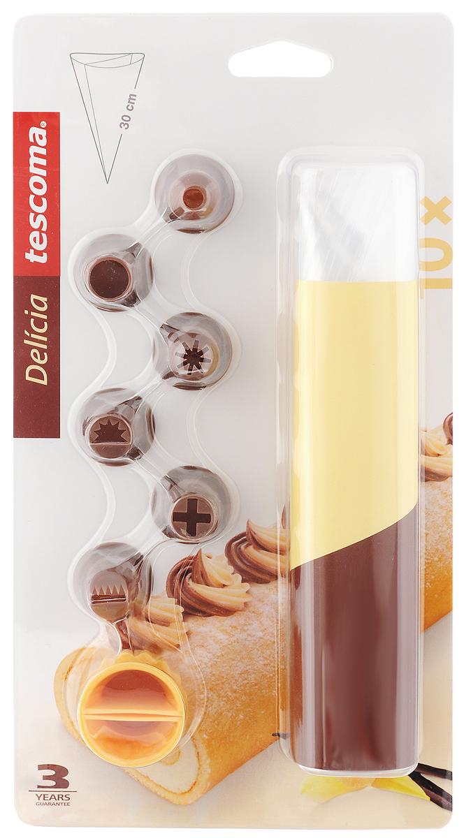 Мешок для украшения блюд Tescoma Delicia, двухсекционный, с насадками, 17 предметов420883_желтыйМешки Tescoma Delicia отлично подойдут для украшения пряников, ватрушек, кексов и других блюд. Для использования достаточно заполнить мешочек глазурью или растопленным шоколадом и украсить блюдо, легонько нажимая на мешочек. Насадки изготовлены из стойкого пластика.В комплект входит 10 мешочков, 6 насадок и распределитель.Длина мешочков: 30 см.