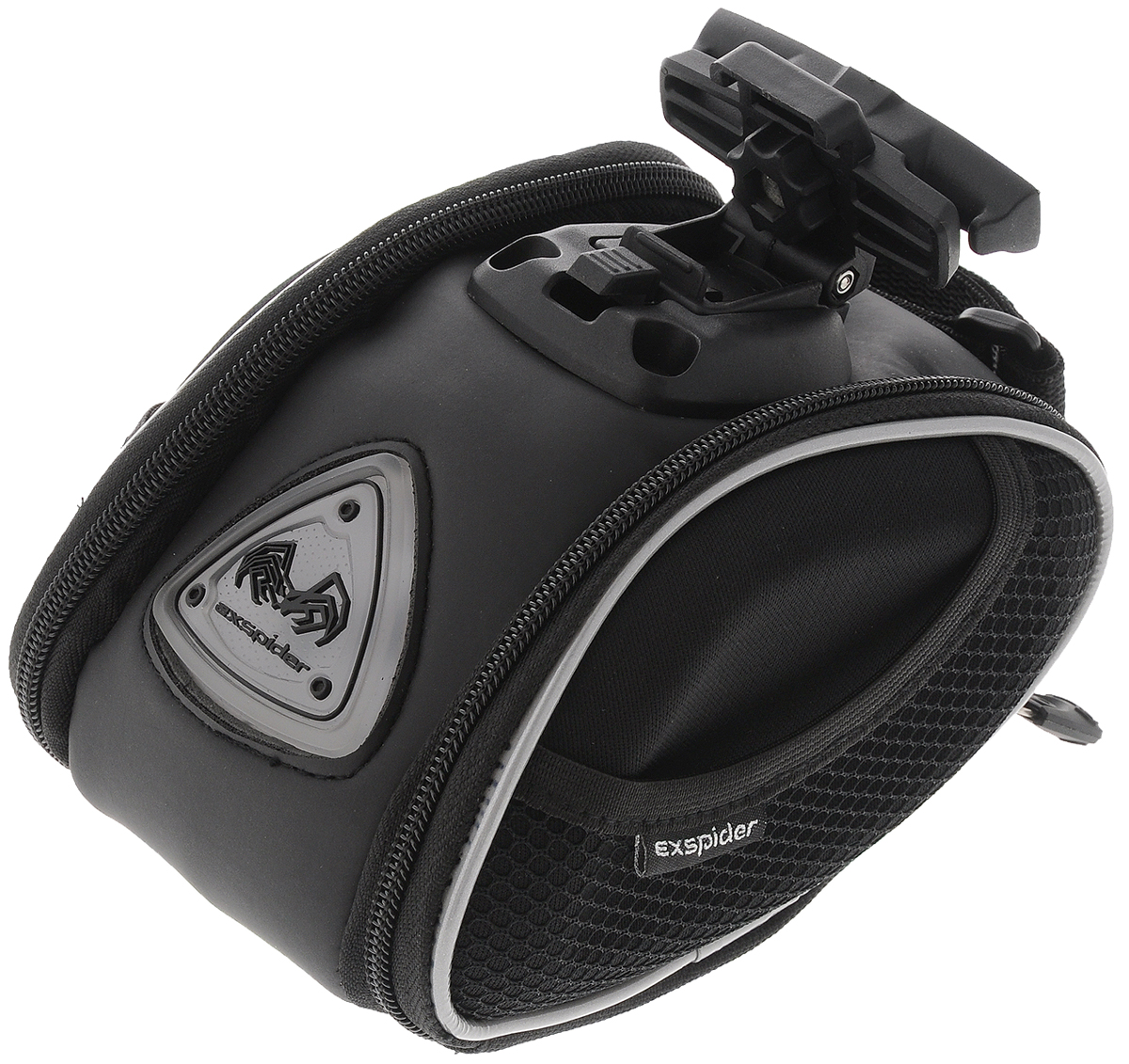 Подседельная сумка EXspider, с подсветкойSСJ-2201Подседельная сумка EXspider, изготовленная из плотного полиэстера, специально разработана для крепления под седло велосипеда. Сумка оснащена вставками из прочного ударопоглощающего материала EVA (вспененный каучук) для большей надежности. Светоотражающие детали обеспечивают безопасность в темное время суток. Изделие имеет вместительный отсек на молнии для хранения небольших инструментов, личных вещей, легкого дождевика. Сбоку также имеется дополнительный карман на молнии и два сетчатых кармана на резинке. Быстросъемная пластиковая пряжка может быть закреплена под разными углами, чтобы сохранить горизонтальное положение сумки. Светящийся светодиодный логотип делает сумку оригинальной и стильной. Необходимо докупить 2 батарейки типа ААА (в комплект не входят).