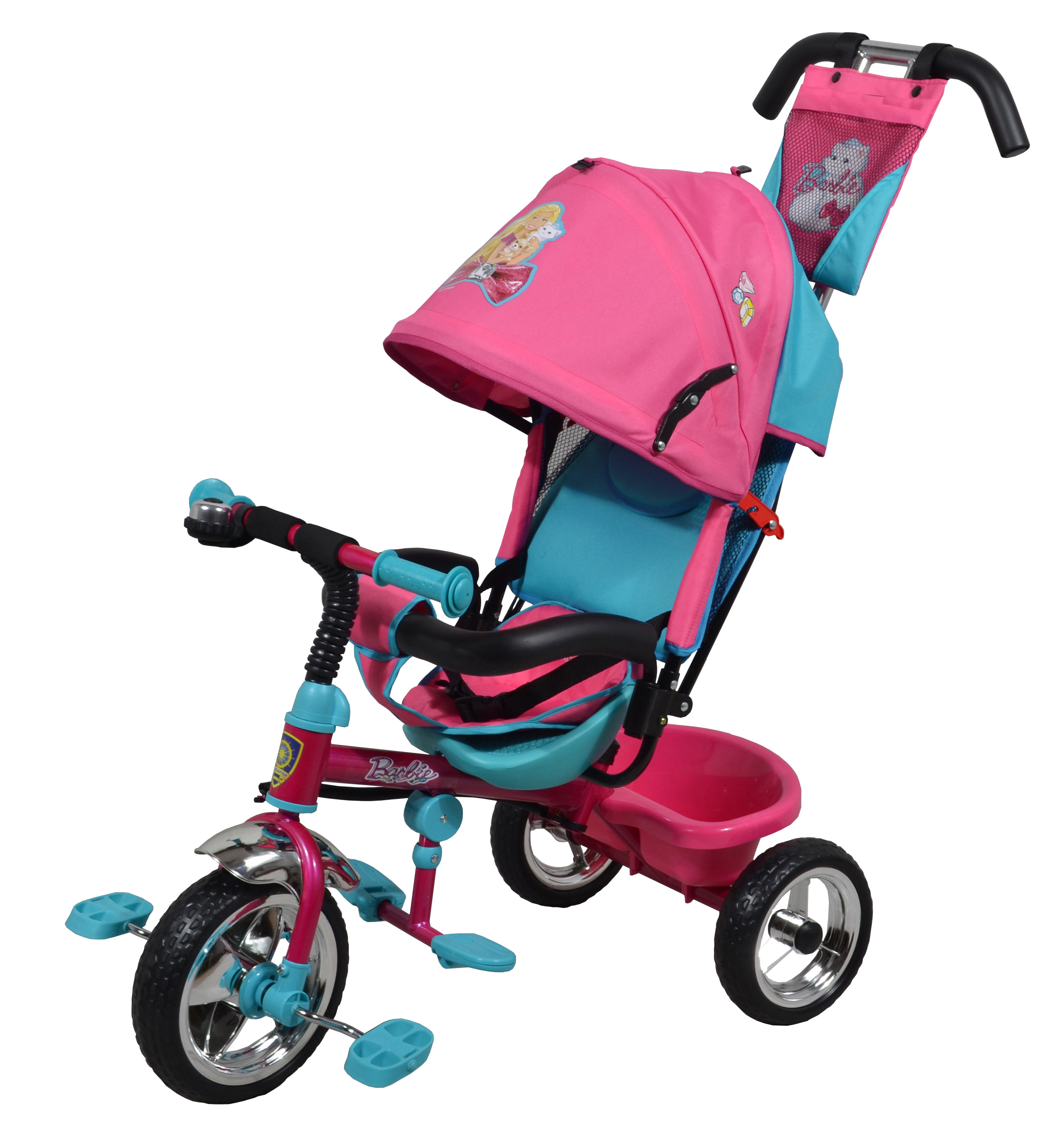 Популярная модель детского трехколесного велосипеда с ярким дизайном и популярной лицензией BARBIE. Велосипед снабжен ручкой управления для родителей.