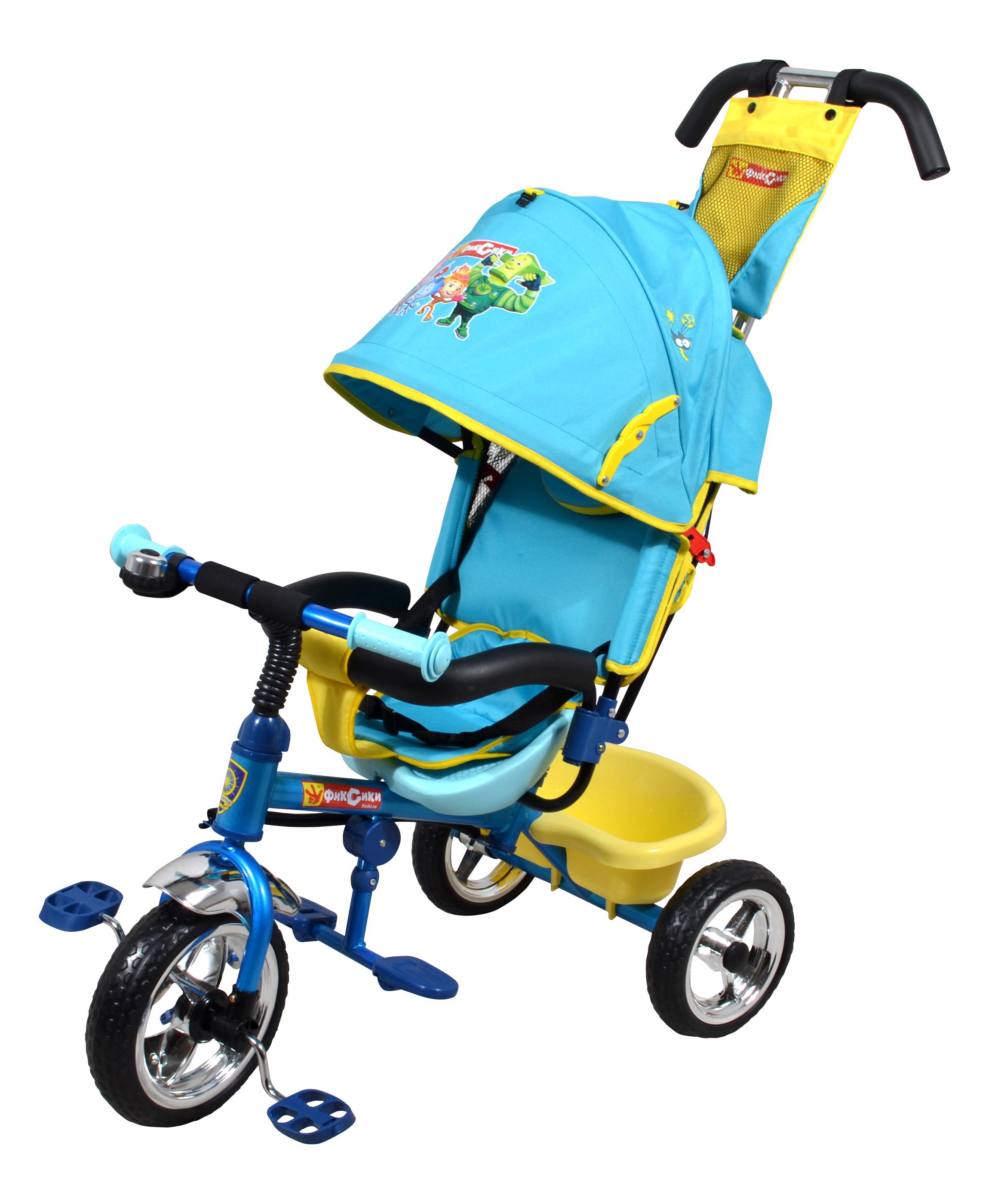 """Популярная модель детского трехколесного велосипеда с ярким дизайном и популярной лицензией """"Фиксики"""". Велосипед снабжен ручкой управления для родителей."""