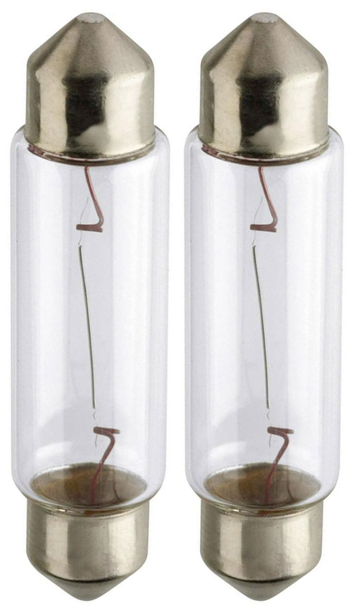 Лампа автомобильная Philips Vision, для салона, цоколь Festoon T10,5x43 (SV8.5), 12V, 10W, 2 шт112825Автомобильная лампа Philips Vision изготовлена из запатентованного кварцевого стекла с УФ-фильтром Philips Quartz Glass. Кварцевое стекло в отличие от обычного стекла выдерживает гораздо большее давление и больший перепад температур. При попадании влаги на работающую лампу, лампа не взрывается и продолжает работать. Лампа Philips Vision производит на 30% больше света по сравнению со стандартной лампой, благодаря чему стоп-сигналы или указатели поворота будут заметны с большего расстояния. Лампа Philips Vision отличается высокой эффективностью, соответствуя всем современным требованиям.