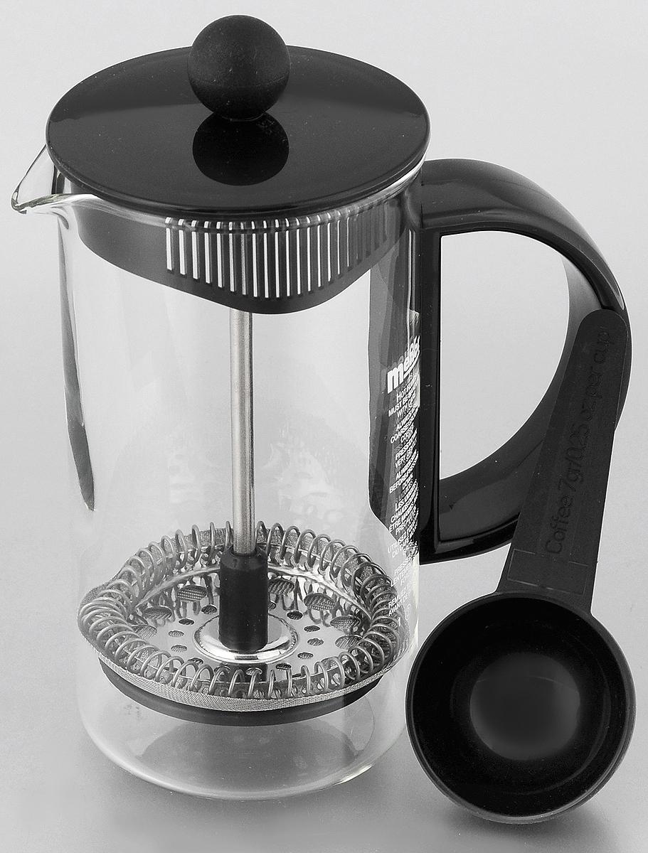 Френч-пресс Melior Rio/Junior, с мерной ложкой, 350 мл94672Френч-пресс Melior Rio/Junior позволит быстро и просто приготовить свежий и ароматный кофе или чай. Цветовая гамма подойдет даже для самого яркого интерьера. Френч-пресс изготовлен из высокотехнологичных материалов на современном оборудовании:- корпус изготовлен из высококачественного жаропрочного стекла, устойчивого к окрашиванию и царапинам;- фильтр-поршень из нержавеющей стали выполнен по технологии Press-Up для обеспечения равномерной циркуляции воды;Практичный и стильный дизайн френч-пресса Melior полностью соответствует последним модным тенденциям в создании предметов бытового назначения.В комплект входит мернаяложка. Можно мыть в посудомоечной машине.Диаметр по верхнему краю: 7 см.Высота (с учетом крышки): 15 см.Длина ложки: 10 см.Диаметр рабочей части: 4,5 см.