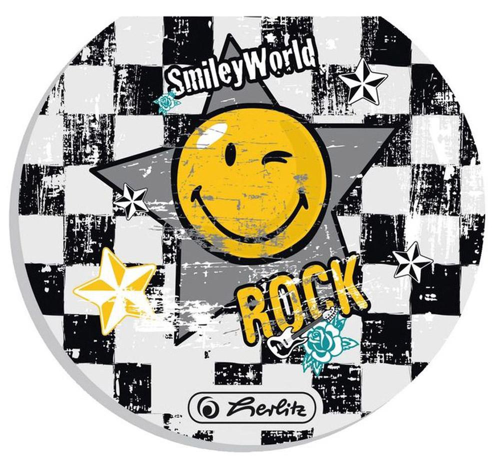 Herlitz Блокнот Smiley World RockКЗК41601655Блокнот Herlitz Smiley World Rock - это незаменимый атрибут современного человека, необходимый для рабочих и школьных записей как в офисе, так и дома. Внутренний склеенный блок гарантирует надежное крепление листов. Блокнот имеет круглую форму и яркийдизайн, дополненный желтым смайлом.Получите ежедневную дозу Рок н ролла с новой дизайнерской серией Smiley World! Клевые и прикольные смайлы, «шахматный» дизайн, а также различные детали рок-культуры, такие как гитары или розы, стилизованные под тату, привлекут внимание любого подростка, особенно в школе.