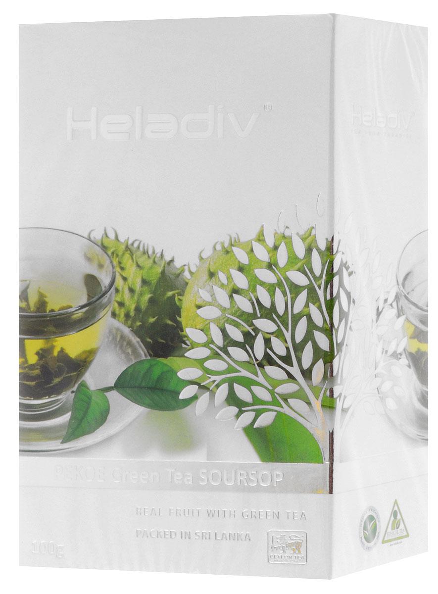 Heladiv Pekoe Green Soursop чай зеленый с саусепом листовой, 100 г101246Зеленый крупнолистовой чай Heladiv Pekoe Green Soursop с добавлением экзотического фрукта саусеп. Ярко выраженный золотистый настой напитка с особым утонченным вкусом и восхитительным ароматом саусепа дарит ощущение свежести и бодрости в течении всего дня.