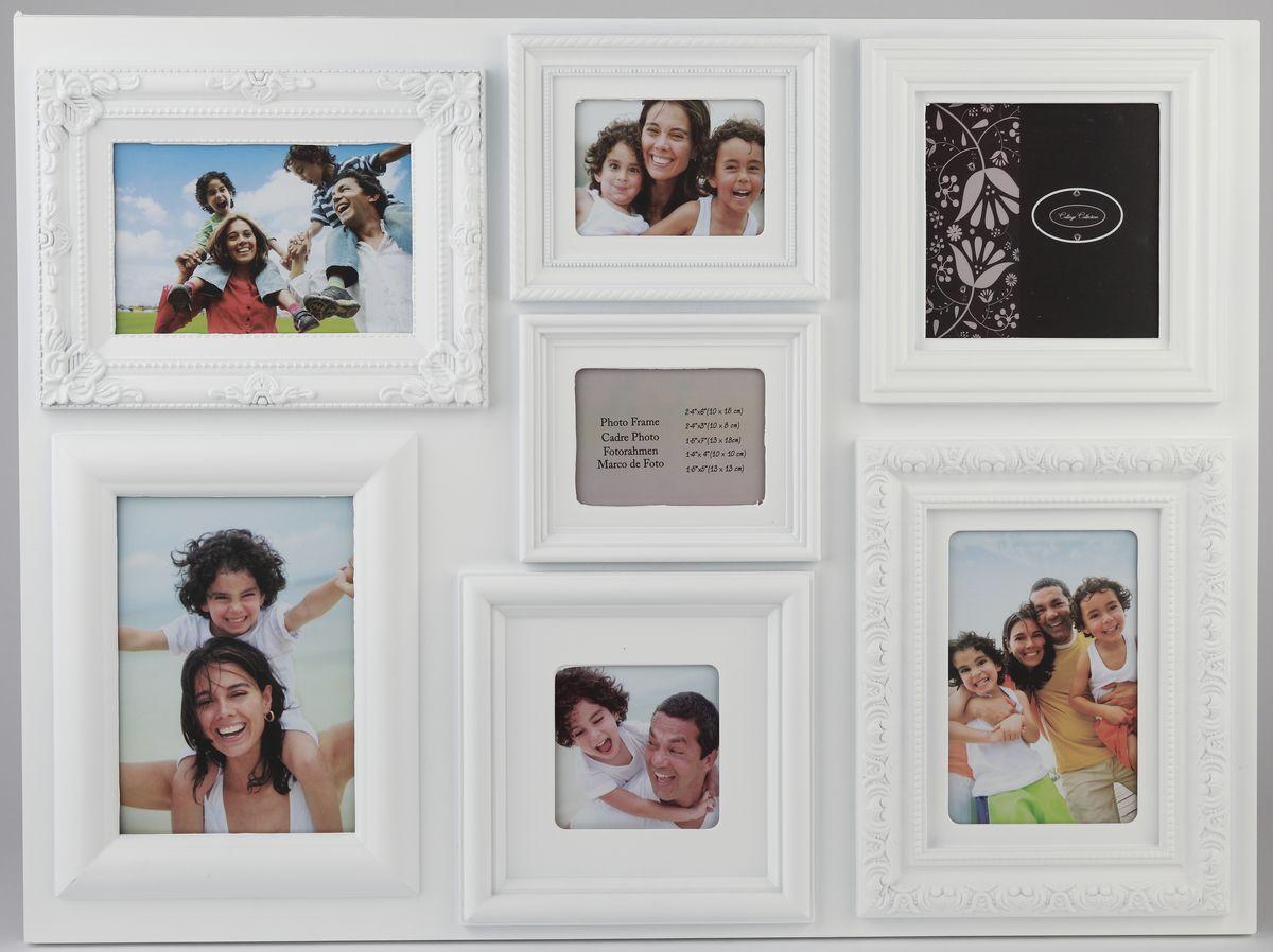 Фоторамка Image Art, на 7 фото. PL37-7123344Фоторамка Image Art отлично дополнит интерьер помещения и поможет сохранить на память ваши любимые фотографии. Фоторамка выполнена из пластика и представляет собой коллаж из 7 рамочек с вертикальным и горизонтальным расположением фотографий. Изделие подвешивается к стене. Такая рамка позволит сохранить на память изображения дорогих вам людей и интересных событий вашей жизни, а также станет приятным подарком для каждого. Размер фотографий: 10 х 15 см, 13 х 18 см, 13 х 13 см, 10 х 10 см, 10 х 8 см.