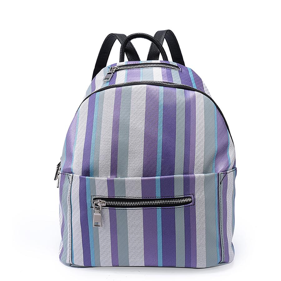 Рюкзак женский Orsa Oro, цвет: бирюзовый, лиловый, серый. D-187/6710130-11Стильный женский рюкзак Ors Oro выполнен из экокожи и оформлен принтом в полоску. Модель с одним отделением застегивается на молнию с двумя бегунками. Верху под ручкой, на передней и задней стороне располагаются прорезные карманы на молнии. Внутри изделие содержит 2 накладных кармана и прорезной карман на молнии. Рюкзак декорирован ремешками с металлическими пряжками, оснащен удобными плечевыми лямками регулируемой длины, а также петлей для подвешивания.