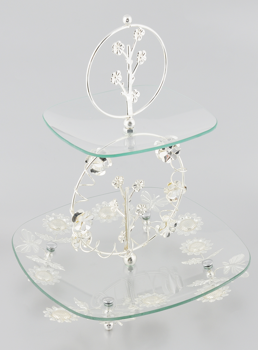 Ваза универсальная Marquis, 2-ярусная, высота 39 см115510Элегантная двухъярусная ваза Marquis, выполненная из стали с серебряно-никелевым покрытием, предназначена для красивой сервировки фруктов, конфет, пирожных. Изделие имеет 2 яруса. Блюда выполнены из стекла и декорированы металлическими вставками с изысканным орнаментом. Изделие поставляется в разобранном виде, легко собирается и разбирается. Ваза Marquis украсит сервировку вашего стола и подчеркнет прекрасный вкус хозяина, а также станет отличным подарком. Размер большого яруса: 30 х 30 см. Размер малого яруса: 20,5 х 20,5 см.Высота яруса: 2,5 см. Высота вазы (в собранном виде): 39 см.