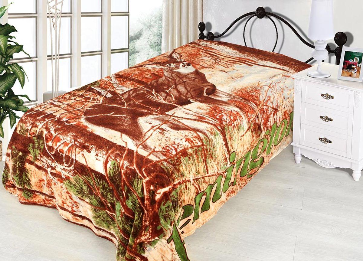 Плед ТД Текстиль Absolute, печатный, 180 х 230 см, цвет: желтый, коричневыйES-412плотность 240 гр/м2