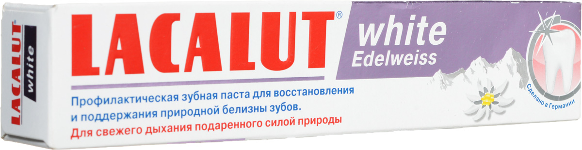 Lacalut Зубная паста White Edelweiss, 75 млSC-FM20104Зубная паста Lacalut White Edelweiss - деликатное удаление окрашенного зубного налета.Целебная сила Эдельвейса альпийского (антисептическое, противовоспалительное, заживляющеевяжущее, обезболивающее, антиоксидантное действие).Выраженное антисептическое и противовоспалительное действие манжетки обыкновенной и вербены лимонной.Для естественной белизны зубов. Характеристики:Объем: 75 мл. Артикул: 666038. Производитель: Германия. Товар сертифицирован.