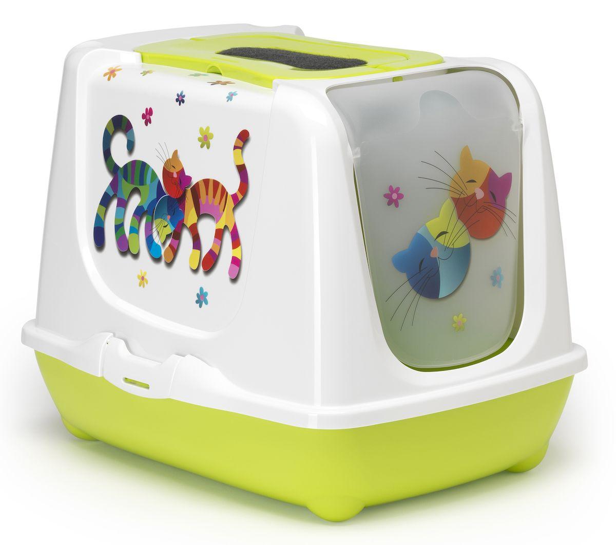 Туалет для кошек Moderna Trendy Cat. Друзья навсегда, закрытый, цвет: зеленый, 57 х 45 х 42,6 см14C245173Закрытый туалет для кошек Trendy Cat. Друзья навсегда выполнен из высококачественного пластика. Туалет оснащен прозрачной открывающейся дверцей, сменным фильтром и удобной ручкой для переноски. Такой туалет избавит ваш дом от неприятного запаха и разбросанных повсюду частичек наполнителя. Кошка в таком туалете будет чувствовать себя увереннее, ведь в этом укромном уголке ее никто не увидит. Кроме того, яркий дизайн с легкостью впишется в интерьер вашего дома. Туалет легко открывается для чистки благодаря практичным защелкам по бокам.