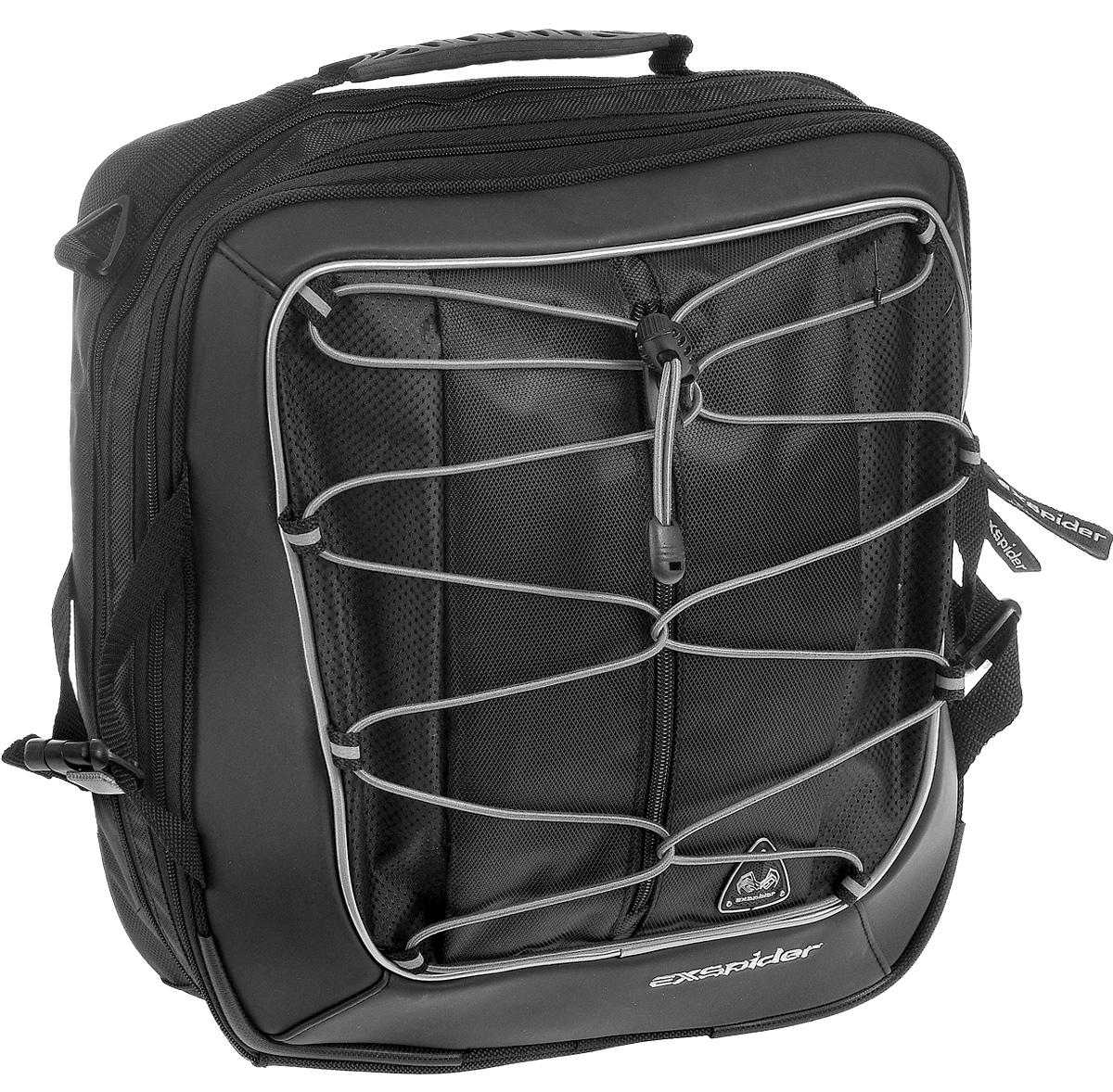 Сумка на багажник велосипеда EXspider, 33 х 38 х 8-13 смRivaCase 8460 blackУниверсальная сумка EXspider, выполненная из высококачественных материалов, крепится на багажник велосипеда, можно носить в руке или на плече. Она оснащена большим отделением с внутренним карманом и закрывается на застежку молнию. Эластичный шнур на внешней стенке позволяет закрепить другую небольшую сумку, палатку, спальный мешок, шлем и многое другое. Такая сумка может вместить одежду, книги и другие необходимые вещи. Изделие снабжено эргономичной ручкой и плечевым регулируемом ремнем. Светоотражающие вставки служат для лучшей заметности в темное время суток.