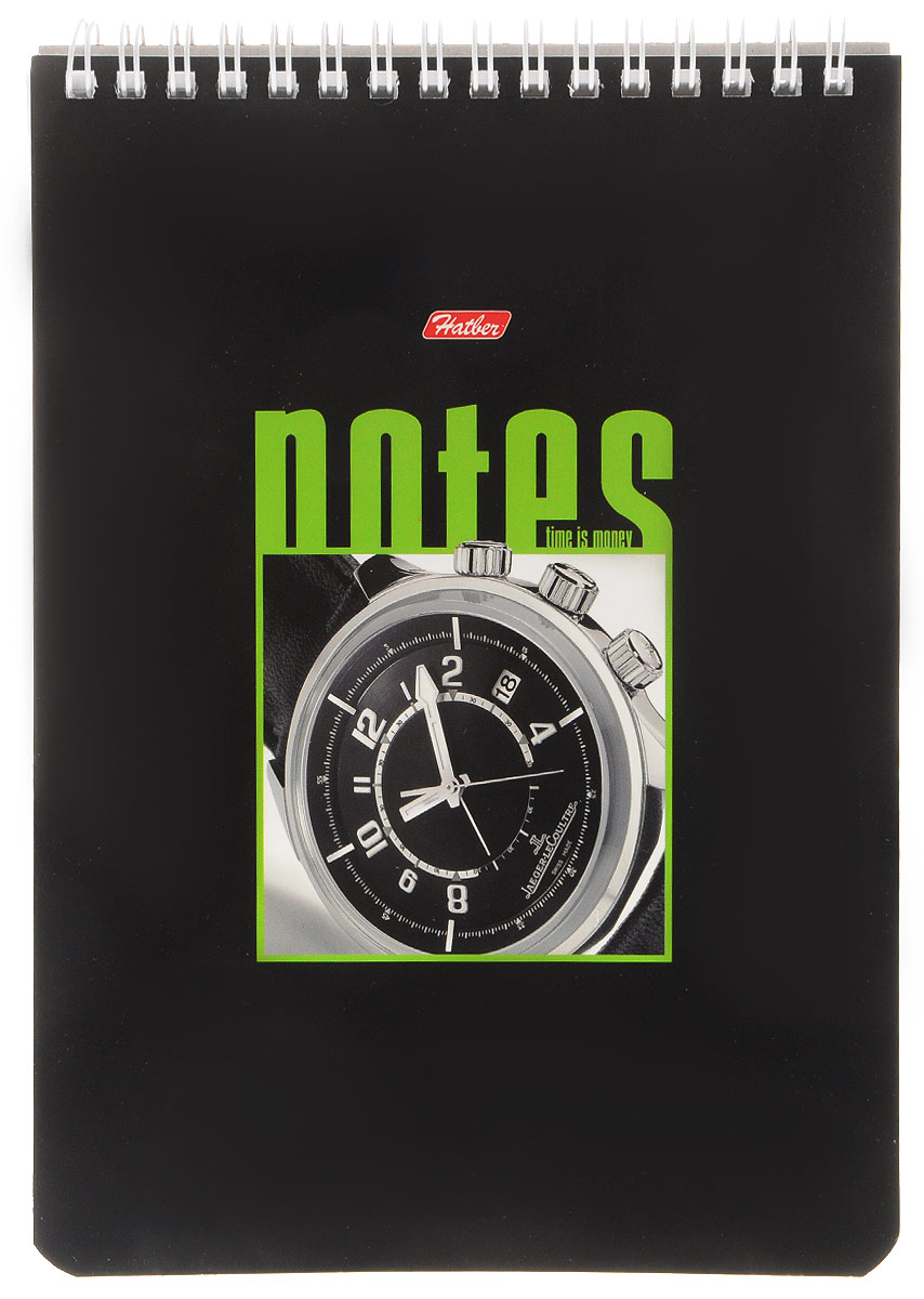 Hatber Блокнот Часы 60 листов в клетку цвет черный зеленый72523WDБлокнот Hatber Часы - незаменимый атрибут современного человека, необходимый для рабочих и повседневных записей в офисе и дома.Фронтальная часть обложки выполнена из картона и оформлена изображением в виде наручных часов. Тыльная часть обложки выполнена из плотного картона, что позволяет делать записи на весу. Внутренний блок состоит из 60 листов, которые снабжены микроперфорацией и являются отрывными. Стандартная линовка в голубую клетку без полей. Листы блокнота соединены металлическим гребнем.