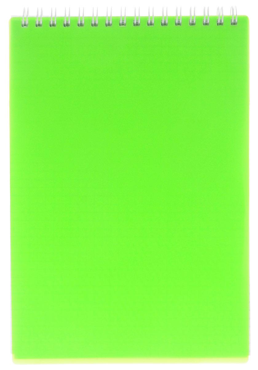 Hatber Блокнот 80 листов в клетку цвет зеленый неон72523WDБлокнот Hatber - незаменимый атрибут современного человека, необходимый для рабочих и повседневных записей в офисе и дома.Обложка блокнота выполнена из прочного пластика яркого цвета. Внутренний блок блокнота состоит из 80 листов белой бумаги. Стандартная линовка в голубую клетку без полей. Листы блокнота соединены металлическим гребнем.