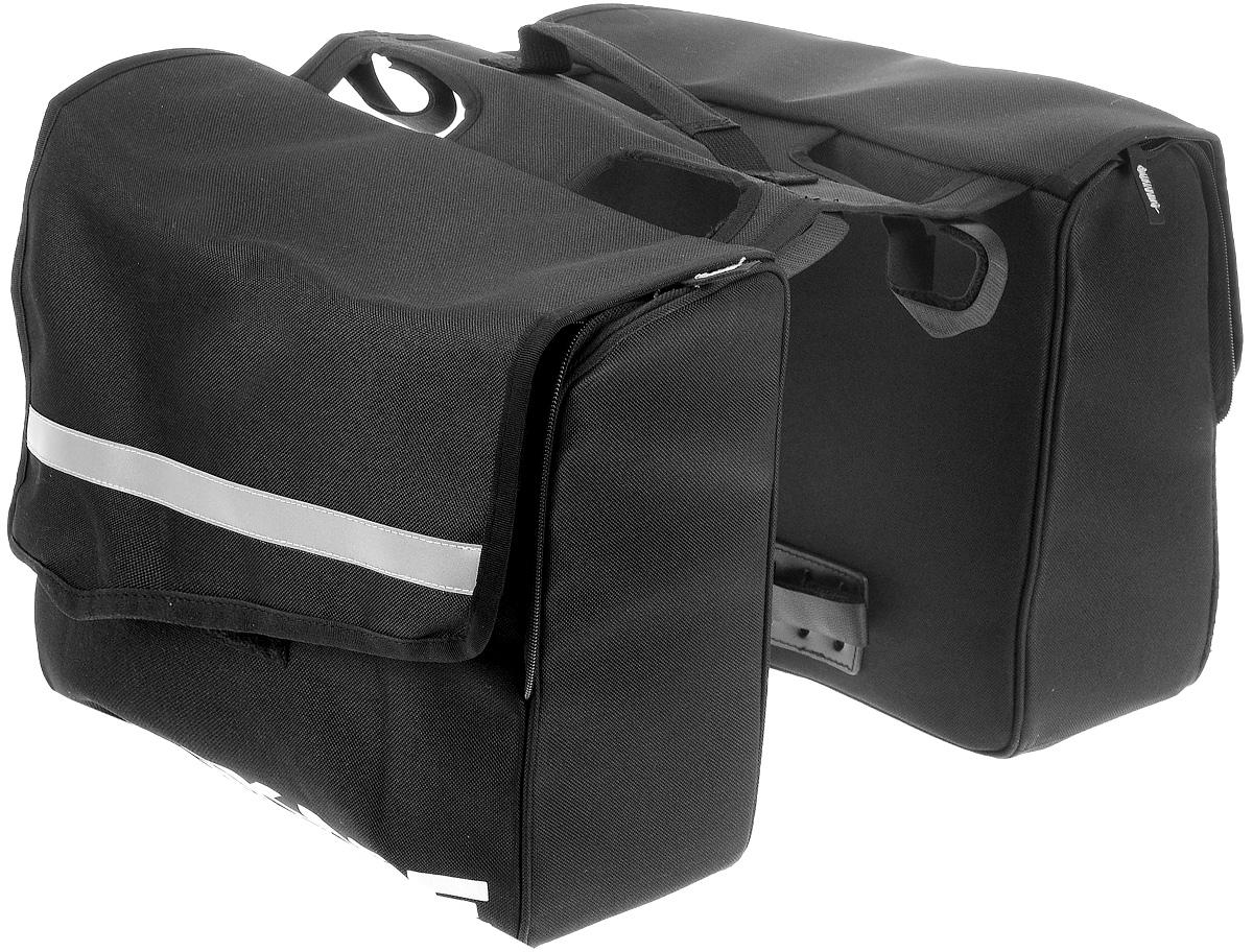 Сумка на задний багажник велосипеда BiKase City Pannier, двойнаяRivaCase 8460 blackДвойная сумка для багажника велосипеда BiKase City Pannier выполнена из высококачественного нейлона с жесткими стенками. Каждая сумка закрывается на двухстороннюю застежку-молнию и липучку, внутри имеются одно главное отделение, карман на молнии и карман на резинке. Изделие крепится при помощи ремней на липучках.Сумка снабжена ручкой для переноски, с помощью которой вы с легкостью сможете снимать ее с багажника. Также имеются светоотражающие вставки. Симметричная конструкция позволяет равномерно распределить нагрузку между двумя сумками. Такая сумка поможет с комфортом транспортировать различные вещи на стандартном багажнике велосипеда.Общий размер двойной сумки: 33 х 41 х 27 см. Размер одной сумки: 33 х 13 х 27 см.