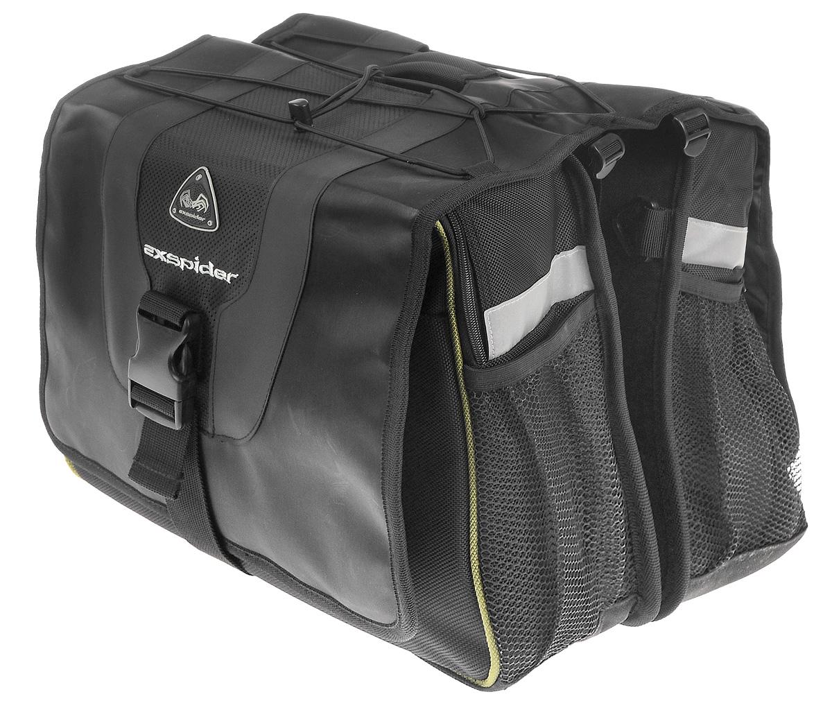 Сумка на багажник велосипеда EXspider, двойная, 36 х 33 х 23 смZ90 blackУниверсальная сумка EXspider крепится на багажник, можно носить ее в руках или на плече. Изделие имеет два больших отделения с внешними карманами. Отделения закрываются на клапан с помощью застежки-молнии и липучки. Также внутри каждого отделения расположен карман на резинке. Подкладка из вспененного полиэтилена предохраняет содержимое от повреждений. Эластичный шнур позволяет закрепить другую небольшую сумку, палатку, спальный мешок, шлем и многое другое. В комплект входит водоотталкивающий чехол от дождя из нейлона и плечевой регулируемый ремень. Внешние сетчатые карманы с каждой из четырех сторон предназначены для небольших вещей. Светоотражающие вставки служат для лучшей заметности в темное время суток. Сумка крепится на багажник с помощью двух шнуров с крючками.