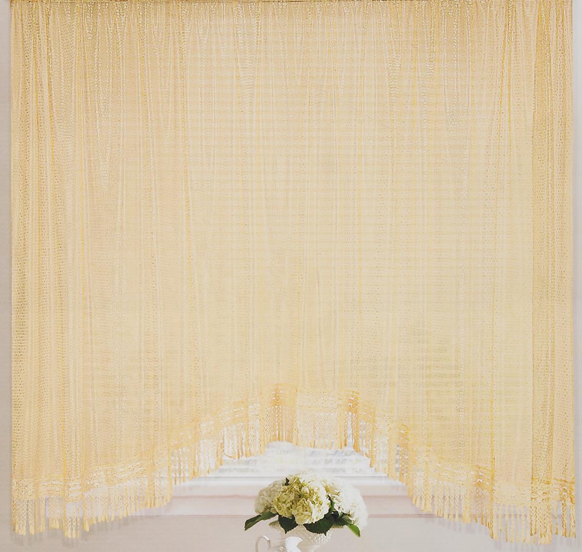 """Штора-арка ТД Текстиль """"Капли росы"""", на ленте, цвет: персиковый, высота 165 см"""