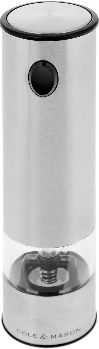 Мельница для перца и соли Cole & Mason Battersea, электрическаяFA-5125 WhiteЭлектрическая мельница Cole & Mason Battersea предназначена для измельчения всех видов перца, крупных кристаллов соли и других специй. Изделие выполнено из матовой нержавеющей стали. Емкость для специй изготовлена из прочного прозрачного пластика. Для включения прибора необходимо держать нажатой верхнюю кнопку, для отключения - отпустить кнопку. Изделие снабжено подсветкой. Такая мельница не только поможет вам с приготовлением пищи, но и стильно украсит любую кухню, а также станет полезным подарком. Нельзя мыть. Необходимо докупить 6 батареек типа ААА (в комплект не входят).