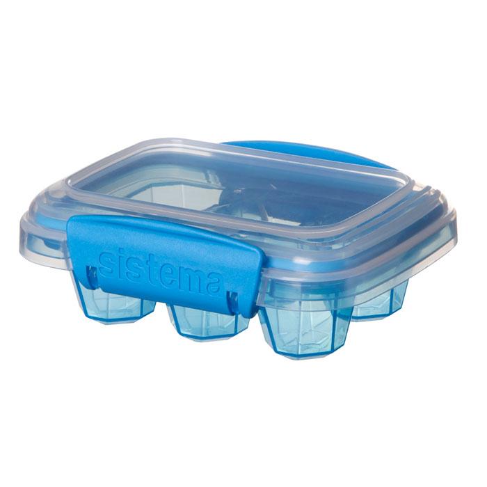 Контейнер для льда Sistema Klip It, малый, цвет: синий, 6 ячеекSC-FD421005Контейнер Klip It предназначен для приготовления 6 кубиков льда. Крышка с силиконовой прокладкой герметично закрывается, что помогает дольше сохранить полезные свойства продуктов. Контейнер оснащен фиксирующимися зажимами – клипсами, которые при необходимости можно заменить. Можно мыть в посудомоечной машине.