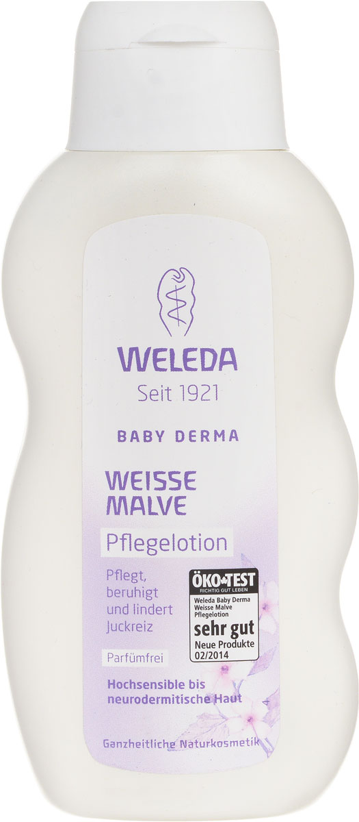 Weleda Молочко для тела Baby Derma, для гиперчувствительной кожи, с алтеем, 200 млAC-2233_серыйНасыщенное молочко с тщательно подобранными безопасными натуральными ингредиентами освежает, увлажняет, охлаждает и успокаивает, а также снимает раздражения. Подходит для ухода за сухой реактивной кожей детей и взрослых, а также при атопическом дерматите. Алтей лекарственный смягчает и обволакивает кожу защитным слоем, ценный экстракт фиалки успокаивает, а органические кокосовое и кунжутное масла интенсивно питают. Основные ингредиенты и их свойства:Экстракт фиалки успокаивает и увлажняет кожу.Кунжутное масло бережно ухаживает за кожей благодаря содержанию полиненасыщенных жирных кислот и ценного витамина Е.Масло бораго благодаря омега-6-ненасыщенным кислотам (гамма-линоленовая жирная кислота) восстанавливает защитный барьер кожи. Содержит Растительные жиры и масла, фитостеролы и витамин Е.Пчелиный воск защищает кожу, не влияя на ее естественные функции.Масло какао содержит ценные насыщенные жирные кислоты и восстанавливает защитную оболочку кожи, защищая ее от высыхания. Не содержит минеральных масел и синтетических ароматизаторов, красителей и консервантов.Товар сертифицирован.
