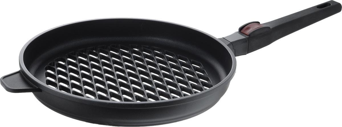Сковорода-гриль Nadoba Griza, с антипригарным покрытием, со съемной ручкой. Диаметр 28 смс229Сковорода-гриль Nadoba Griza имеет корпус из литого алюминия, который нагревается равномерно и не деформируется. Надежное многослойное антипригарное покрытие Pfluon Cookmark устойчиво к истиранию и высокой температуре. Покрытие не содержит PFOA, кадмий и свинец, поэтому безопасно для здоровья. Перфорированное дно идеально для жарки на гриле с использованием углей и других нагревательных элементов. Удобная ненагревающаяся съемная ручка из бакелита позволяет экономить пространство на кухне. Можно мыть в посудомоечной машине. Высота стенки: 4 см. Длина ручки: 22 см.
