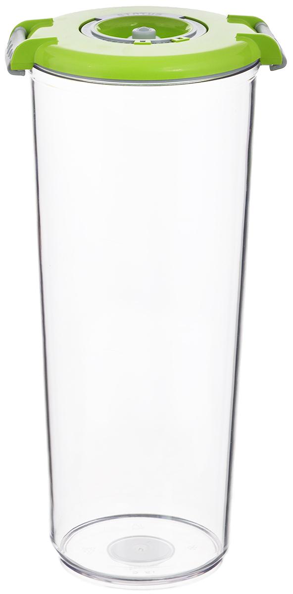 Контейнер вакуумный Status, с индикатором даты срока хранения, цвет: прозрачный, зеленый, 2,5 лVT-1520(SR)Вакуумный контейнер Status выполнен из хрустально-прозрачного прочного тритана. Благодаря вакууму, продукты не подвергаются внешнему воздействию, сохраняют свои вкусовые качества и аромат, срок их хранения значительно увеличивается, а запахи в холодильнике не перемешиваются. Допускается замораживание до -21°C, мойка контейнера в посудомоечной машине, разогрев в СВЧ (без крышки). Идеально подходит для хранения макаронных изделий, круп, муки. Контейнер имеет индикатор даты, который позволяет отмечать дату конца срока годности продуктов.Размер контейнера (с учетом крышки): 13 х 13 х 29,5 см.