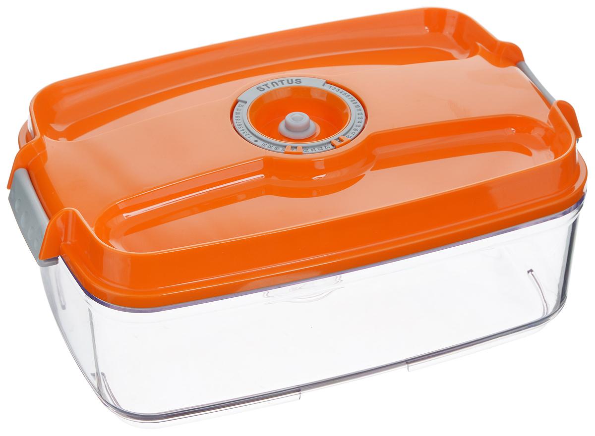 Контейнер вакуумный Status, с индикатором даты срока хранения, цвет: прозрачный, оранжевый, 3 лVT-1520(SR)Вакуумный контейнер Status выполнен из хрустально-прозрачного прочного тритана. Благодаря вакууму, продукты не подвергаются внешнему воздействию, и срок хранения значительно увеличивается, сохраняют свои вкусовые качества и аромат, а запахи в холодильнике не перемешиваются. Допускается замораживание до -21°C, мойка контейнера в посудомоечной машине, разогрев в СВЧ (без крышки). Рекомендовано хранение следующих продуктов: макаронные изделия, крупа, мука, кофе в зёрнах, сухофрукты, супы, соусы. Контейнер имеет индикатор даты, который позволяет отмечать дату конца срока годности продуктов.Размер контейнера (с учетом крышки): 29,5 х 18,5 х 11,5 см.