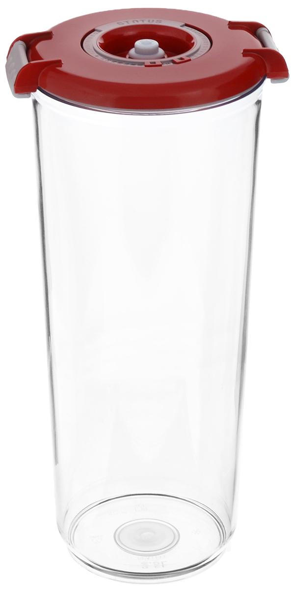 Контейнер вакуумный Status, с индикатором даты срока хранения, цвет: прозрачный, красный, 2,5 лVT-1520(SR)Вакуумный контейнер Status выполнен из хрустально-прозрачного прочного тритана. Благодаря вакууму, продукты не подвергаются внешнему воздействию, и срок хранения значительно увеличивается, сохраняют свои вкусовые качества и аромат, а запахи в холодильнике не перемешиваются. Допускается замораживание до -21°C, мойка контейнера в посудомоечной машине, разогрев в СВЧ (без крышки). Идеально подходит для хранения макаронных изделий, круп, муки. Контейнер имеет индикатор даты, который позволяет отмечать дату конца срока годности продуктов.Размер контейнера (с учетом крышки): 13 х 13 х 29,5 см.