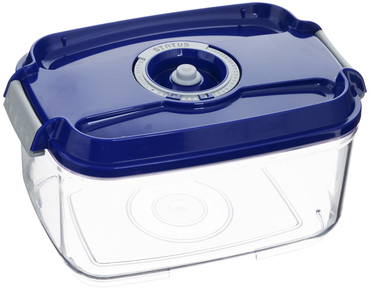 Контейнер вакуумный Status, с индикатором даты срока хранения, цвет: прозрачный, синий, 2 лVT-1520(SR)Вакуумный контейнер Status выполнен из хрустально-прозрачного прочного тритана. Благодаря вакууму, продукты не подвергаются внешнему воздействию, и срок хранения значительно увеличивается, сохраняют свои вкусовые качества и аромат, а запахи в холодильнике не перемешиваются. Допускается замораживание до -21°C, мойка контейнера в посудомоечной машине, разогрев в СВЧ (без крышки). Рекомендовано хранение следующих продуктов: макаронные изделия, крупа, мука, кофе в зёрнах, сухофрукты, супы, соусы. Контейнер имеет индикатор даты, который позволяет отмечать дату конца срока годности продуктов.Размер контейнера (с учетом крышки): 22,5 х 15,5 х 11,5 см.