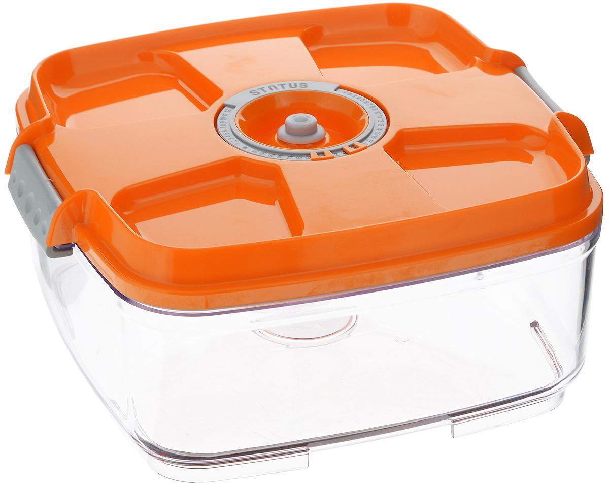 Контейнер вакуумный Status, с индикатором даты срока хранения, цвет: прозрачный, оранжевый, 2 л. VAC-SQ-20VT-1520(SR)Вакуумный контейнер Status выполнен из хрустально-прозрачного прочного тритана. Благодаря вакууму, продукты не подвергаются внешнему воздействию, и срок хранения значительно увеличивается, сохраняют свои вкусовые качества и аромат, а запахи в холодильнике не перемешиваются. Допускается замораживание до -21°C, мойка контейнера в посудомоечной машине, разогрев в СВЧ (без крышки). Рекомендовано хранение следующих продуктов: макаронные изделия, крупа, мука, кофе в зёрнах, сухофрукты, супы, соусы. Контейнер имеет индикатор даты, который позволяет отмечать дату конца срока годности продуктов.Размер контейнера (с учетом крышки): 22 х 22 х 11 см.