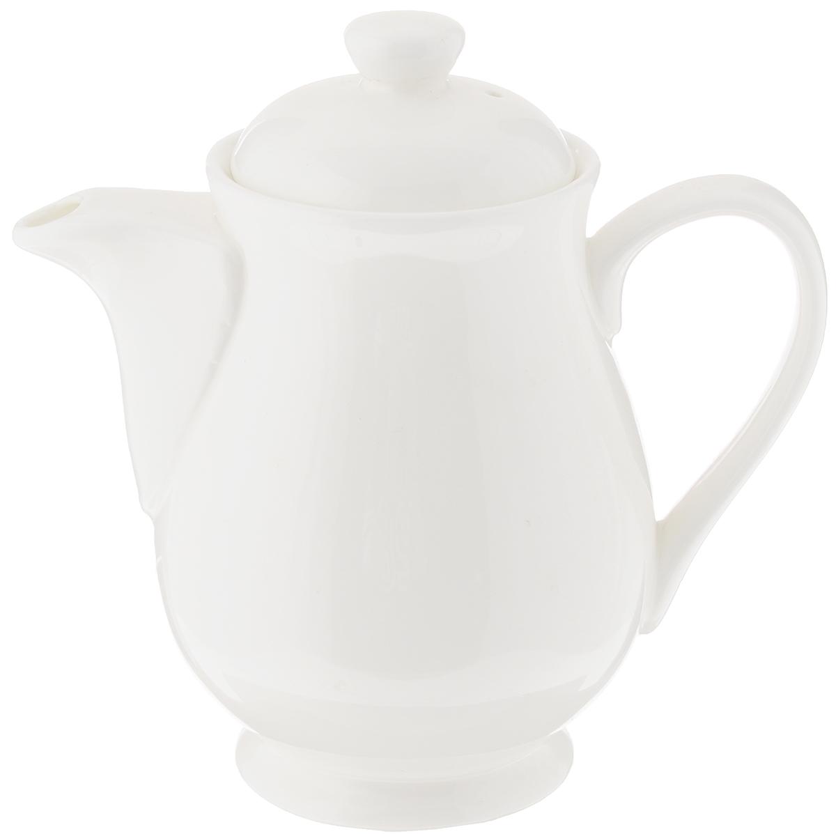 Чайник заварочный Wilmax Fine Porcelain, 450 млVT-1520(SR)Заварочный чайник Wilmax изготовлен из высококачественного фарфора. Глазурованное покрытие обеспечивает легкую очистку. Изделие прекрасно подходит для заваривания вкусного и ароматного чая, а также травяных настоев. Ситечко в основании носика препятствует попаданию чаинок в чашку. Оригинальный дизайн сделает чайник настоящим украшением стола. Он удобен в использовании и понравится каждому.Можно мыть в посудомоечной машине и использовать в микроволновой печи. Диаметр чайника (по верхнему краю): 7 см. Высота чайника (без учета крышки): 12 см.