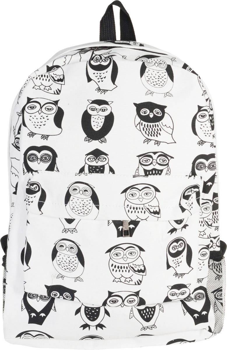 Рюкзак Kawaii Factory B&W - Owls, цвет: белый, черный. KW102-000133205065-001Оригинальный рюкзак от Kawaii Factory B&W - Owls подчеркнет ваш неординарный вкус и стиль. Изделие полностью выполнено из натурального хлопка и закрывается на удобную молнию. Рюкзак оформлен оригинальным принтом с изображением сов. На лицевой стороне расположен объемный карман на молнии для мелочей. Рюкзак имеет боковые сеточные карманы для переноса бутылок с водой. Внутри находится вместительное отделение, которое содержит накладной открытый карман. Также рюкзак оснащен удобными лямками, длину которых можно регулировать с помощью пряжек. Такой модный и практичный рюкзак станет незаменимым спутником как для школьника, так и для любителя путешествий.
