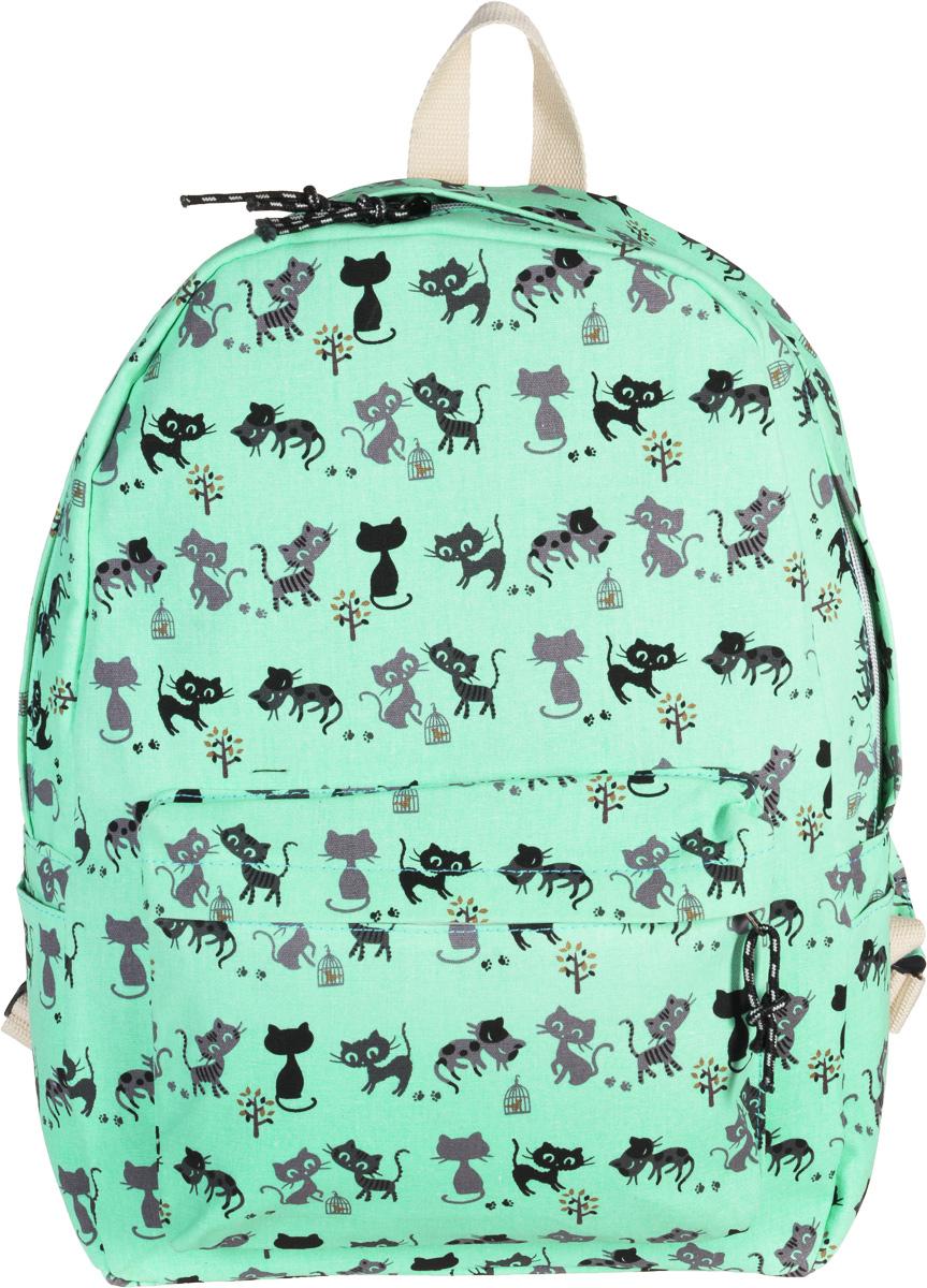 Рюкзак женский Kawaii Factory Cat, цвет: светло-бирюзовый. KW102-00017271069с-2Голубой рюкзак Cat от Kawaii Factory- идеальное сочетание креативного дизайнерского подхода и простоты исполнения. Модный рюкзак с черными котами удобный и функциональный, сшит из прочного материала. В нем есть все, что нужно - одно основное отделение, закрывающееся на застежку-молнию, один внутренний накладной карман, а также карман на молнии на передней части рюкзака. По бокам имеются небольшие кармашки для различных мелочей. Благодаря отличной эргономичности прогулочный рюкзак будет практически невесомым на вашей спине. Рюкзак непременно приглянется активным девушкам, желающим выделиться среди толпы и подчеркнуть свой неповторимый стиль. Просто невозможно остаться незамеченной, имея за спиной ранец Cat с забавным принтом.