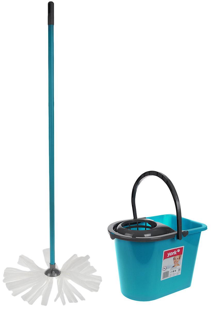 Набор для уборки York Mop Set, цвет: бирюзовый, серый, 3 предмета. 7201VCA-00Набор для уборки York состоит из рукоятки для швабры, лепестковой насадки и ведра с отжимом. Рукоятка York изготовлена из металла с пластиковым покрытием по всей длине. Изделие оснащено специальным отверстием, которое позволит подвесить его на крючок. Универсальная резьба подходит ко всем швабрам и щеткам. Специальная структура микроактивного волокна лепестковой насадки убирает даже сильные, затвердевшие загрязнения, не оставляя разводов, и эффективно впитывает влагу. Благодаря специальному пластиковому ведру со встроенным отжимом уборка станет быстрой и гигиеничной, так как вы сможете выжимать швабру, не пачкая руки. Ведро оснащено пластиковой ручкой. Набор для уборки York предназначен для уборки любых типов напольных покрытий, включая паркет и ламинат. Такой набор сделает уборку легкой и обеспечит идеальную чистоту вашего пола без разводов и царапин. Размер ведра: 36 х 25 х 26 см.Объем ведра: 14 л. Длина рукоятки: 108 см. Диаметр рукоятки: 2 см. Длина волокон лепестковой насадки: 19,5 см.