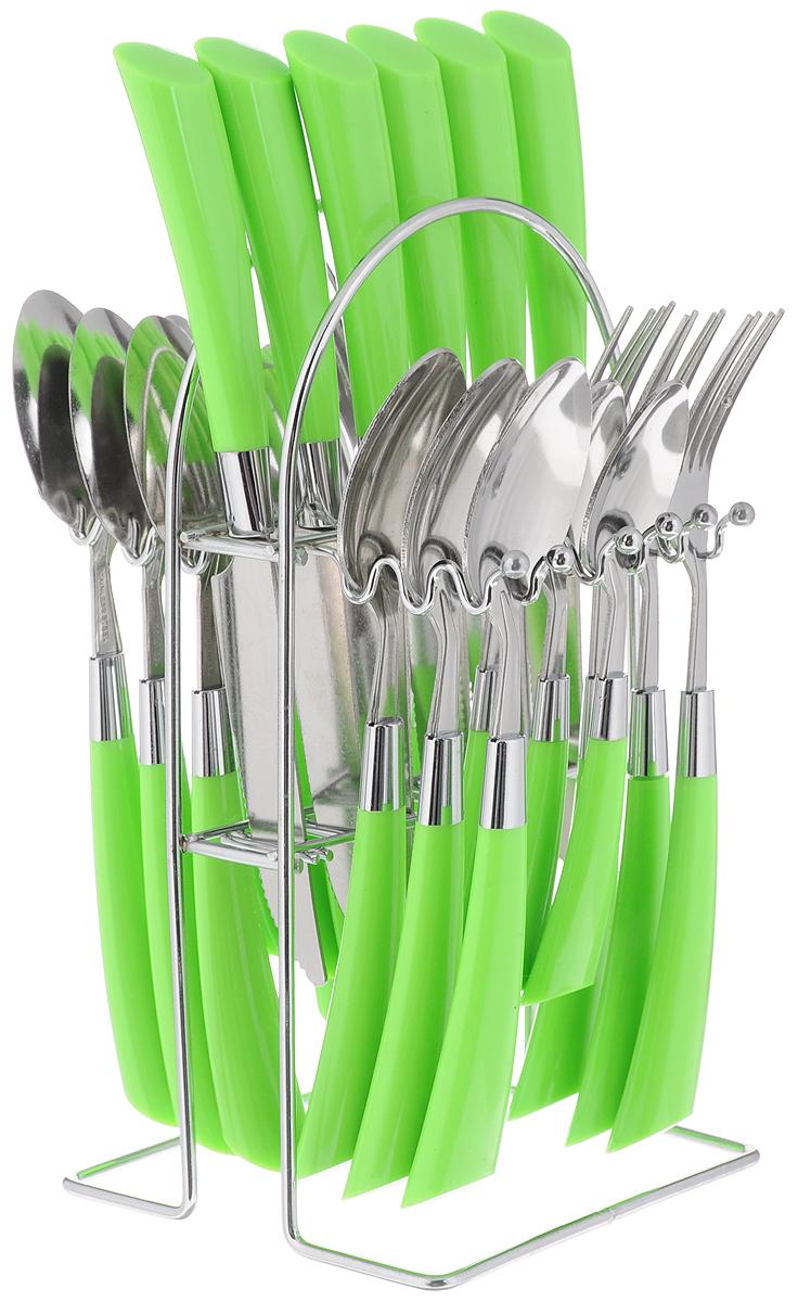 Набор столовых приборов Mayer&Boch, цвет: стальной, салатовый, 25 предметов, Mayer & Boch