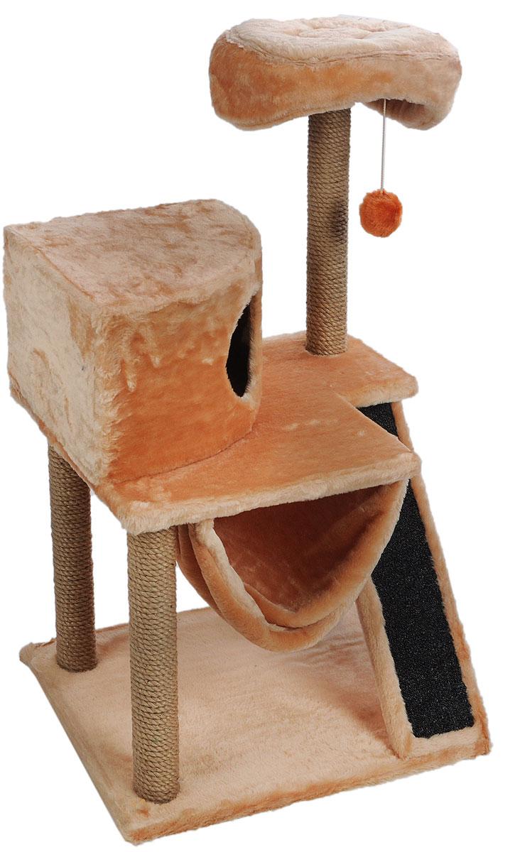 Игровой комплекс для кошек ЗооМарк Мурка, цвет:бежевый, темно-серый, 60 х 45 х 120 см0120710Игровой комплекс для кошек ЗооМарк Мурка выполнен из высококачественного дерева и обтянут искусственным мехом. Изделие предназначено для кошек. Комплекс имеет 3 яруса. Ваш домашний питомец будет с удовольствием точить когти о специальные столбики, изготовленные из джута. Также точить когти поможет площадка, оснащенная вставкой из ковролина. А отдохнуть он сможет либо на полках, либо домике или гамаке. На одной из полок расположена игрушка, которая еще сильнее привлечет внимание питомца.Общий размер: 60 х 45 х 120 см.Размер домика: 37 х 37 х 25 см.Диаметр верхней полки: 30 см.Уважаемые покупатели!Обращаем ваше внимание на тот факт, что размеры могут незначительно отличаться в пределах 3-4 см в высоту и ширину.