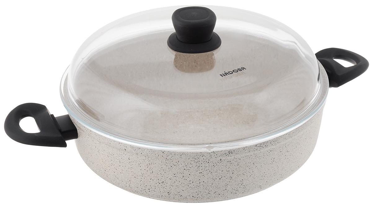 Сотейник Nadoba Marmia с крышкой, диаметр 28 см4520Сотейник Nadoba Marmia изготовлен из кованого алюминия с внутренним 5-слойным антипригарным покрытием QuanTanium. Изделие оснащено двумя не нагревающимися ручками с покрытием Софт-тач, которое предотвращает выскальзывание. В посуде с антипригарным покрытием пища не пригорает даже при самых высоких температурах и использовании минимального количества масла. Кроме того, антипригарное покрытие является уникальным по сочетанию экологических параметров и прочности. Подходит для всех типов плит, включая индукционные. Можно мыть в посудомоечной машине. При приготовлении пищи в сотейнике можно использовать неострые металлические инструменты.Диаметр сотейника: 42 см.Высота стенки сотейника: 7,5 см.Диаметр дна сотейника: 25 см.Длина ручек: 6,5 см.