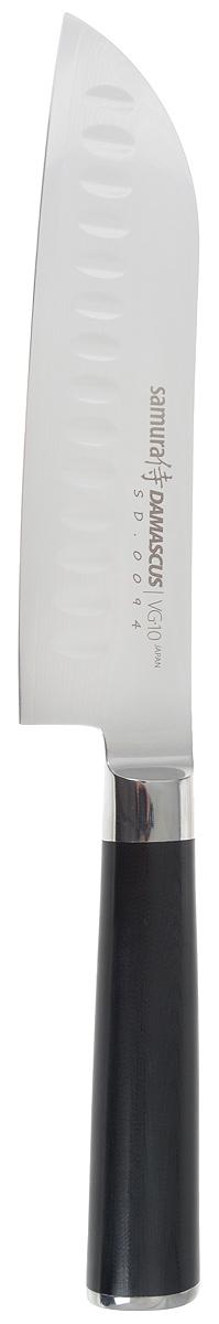 Нож сантоку Samura Damascus, длина лезвия 17,5 см2084-IНож сантоку Samura Damascus - незаменимый помощник на вашей кухне. Лезвие изготовлено из нержавеющей стали высочайшего качества. Нож отличается широким и длинным лезвием. Подходит для работы с крупными продуктами - мясом, рыбой, капустой. Кухонные ножи Samura Damascus - это высококачественные кухонные ножи из лучшей японской стали.Идеальная балансировка, сверхострая кромка, эргономичная рукоятьиз прочной микарты. Сплавленный с лезвием больстер отвечает всем гигиеническим требованиям. Металлический стержень проходит через всю рукоять и придает надежность соединению рукояти с лезвием. Длинное острие средней ширины позволяет нарезать продукты идеально тонкими дольками.Общая длина ножа: 33 см.