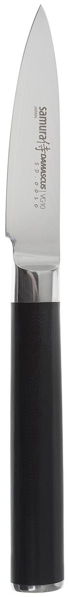 Нож для чистки овощей Samura Damascus, длина лезвия 8 см. SD-0010/G-10624-180Кухонные ножи Samura Damascus - это высококачественные кухонные ножи из лучшей японской стали VG-10с обкладкойиз дамаска (67 слоев) SUS430 и SUS431. Идеальная балансировка, сверхострая кромка, эргономичная рукоять из прочной микарты. Сплавленный с лезвием больстер отвечает всем гигиеническим требованиям. Металлический стержень проходит через всю рукоять и придает надежность соединению рукояти с лезвием.Нож Samura Damascus имеет небольшое прямое лезвие, которое идеально для очистки овощей от кожуры и различных замысловатых работ, связанных с вырезанием сложных фигур. Samura Damascus займет достойное место среди аксессуаров на любой кухне.Используйте кухонные ножи только на разделочной доске из дерева или пластика (стеклянные доски способны затупить любую сталь).Общая длина ножа: 19,5 см.