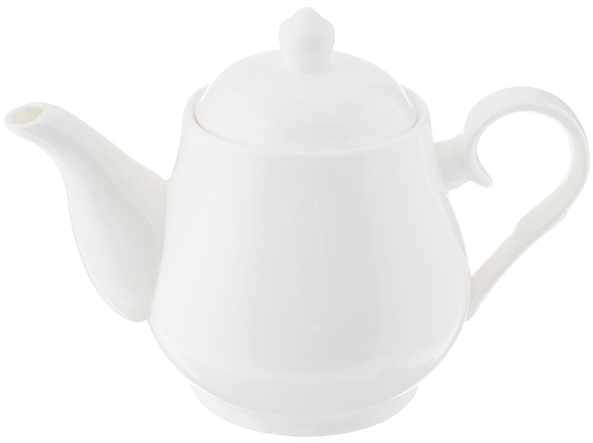 Чайник заварочный Wilmax, 850 мл391602Заварочный чайник Wilmax изготовлен из высококачественного фарфора. Глазурованное покрытие обеспечивает легкую очистку. Изделие прекрасно подходит для заваривания вкусного и ароматного чая, а также травяных настоев. Ситечко в основании носика препятствует попаданию чаинок в чашку. Оригинальный дизайн сделает чайник настоящим украшением стола. Можно мыть в посудомоечной машине и использовать в микроволновой печи. Диаметр чайника (по верхнему краю): 8,5 см. Высота чайника (без учета крышки): 11,5 см.