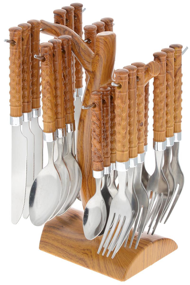 Набор столовых приборов Mayer&Boch, на подставке, 25 предметов. 2000420004Набор Mayer & Boch включает в себя 25 предметов: 6 столовых ножей, 6 столовых ложек, 6 вилок, 6 чайных ложек и подставку. Приборы выполнены из прочной нержавеющей стали и пластика. Прекрасное сочетание оригинального дизайна и удобство использования предметов набора придется по душе каждому. Предметы набора компактно расположены на удобной подставке. Набор столовых приборов Mayer & Boch подойдет для сервировки стола как дома, так и на даче и всегда будет важной частью трапезы.Длина столовой ложки: 18,5 см. Размер рабочей части ложки: 6 х 4 см.Длина вилки: 18 см. Размер рабочей части вилки: 6 х 2,5 см.Длина ножа: 21 см. Размер рабочей части ножа: 11 х 1,5 см.Длина чайной ложки: 15 см. Размер рабочей части чайной ложки: 4,5 х 3 см.Размер подставки: 13,5 х 12 х 24 см.